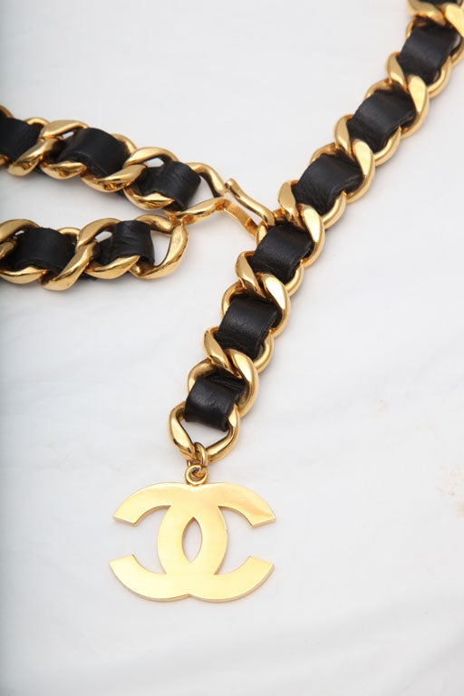 CHANEL Iconic Black And Gold Chain Belt With Large CC Logos 2