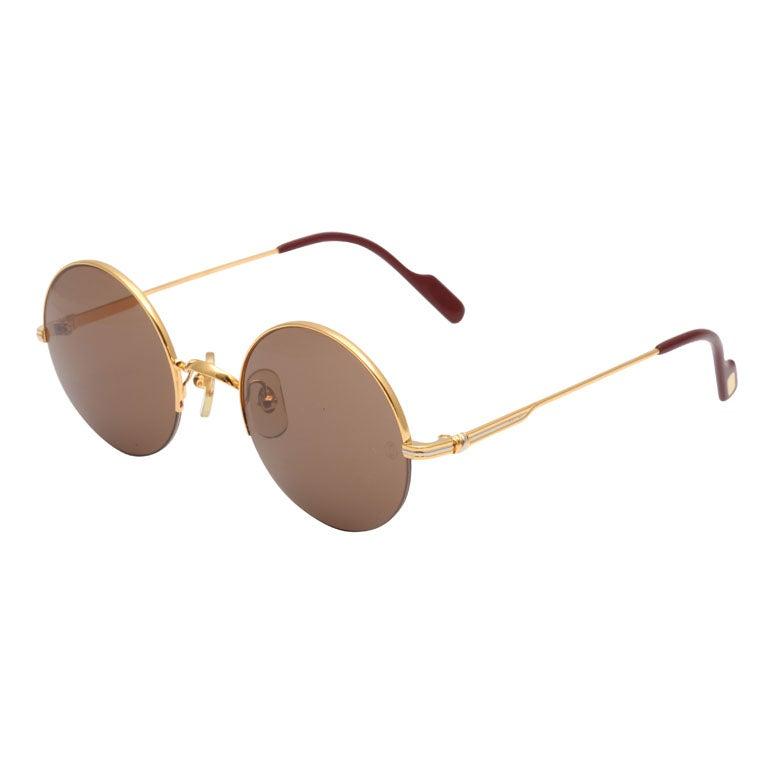 Cartier Half Rim Round Sunglasses at 1stdibs