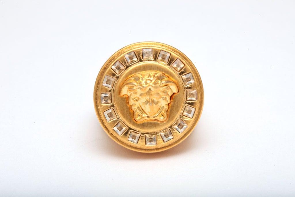 versace strass on medusa gold ring at 1stdibs