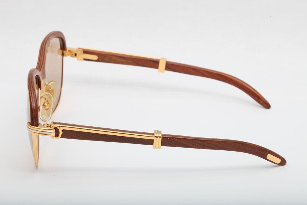 Beige Cartier Malmaison Palisander Rosewood Vintage sunglasses For Sale