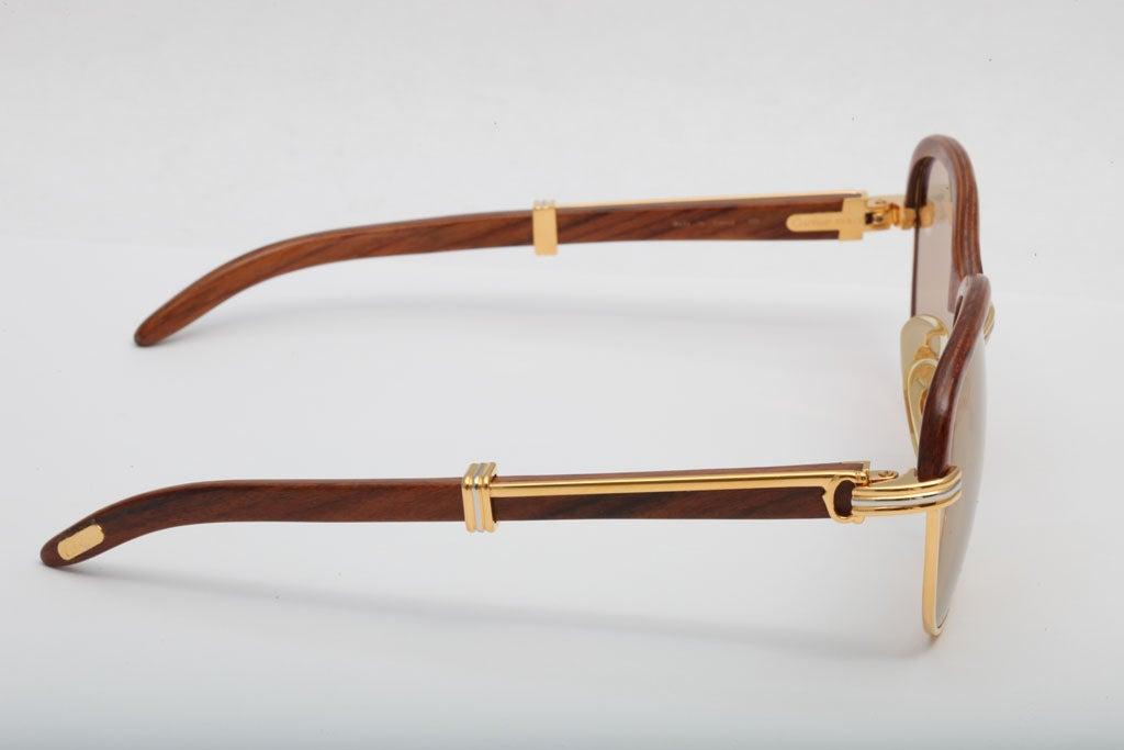 Cartier Malmaison Palisander Rosewood Vintage sunglasses For Sale 2