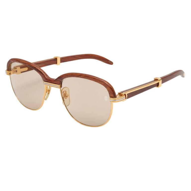 Cartier Malmaison Palisander Rosewood Vintage sunglasses For Sale