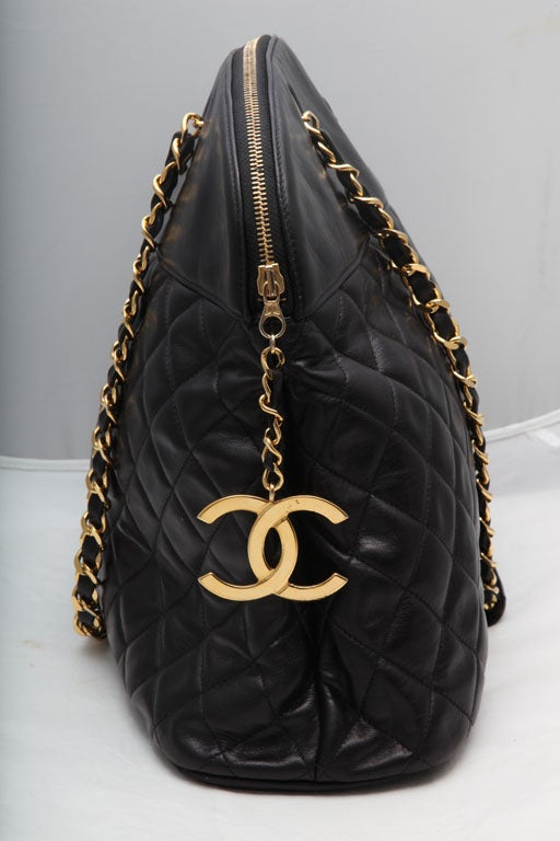 CHANEL LARGE QUILTED BOWLING BAG 2