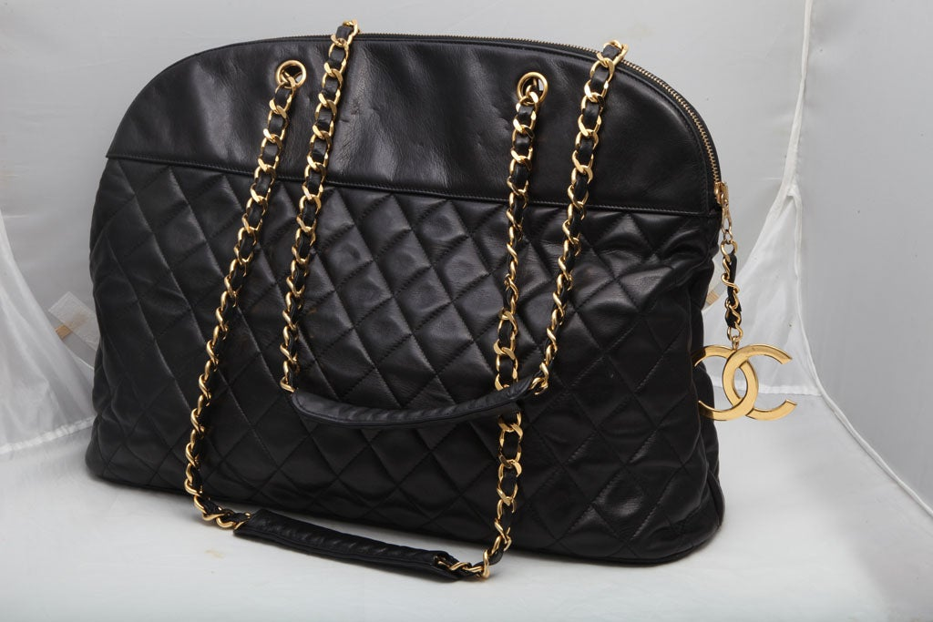 CHANEL LARGE QUILTED BOWLING BAG 3