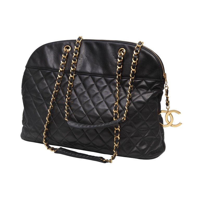 CHANEL LARGE QUILTED BOWLING BAG 1