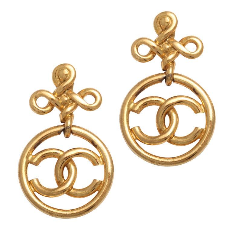 chanel cross motif dangling earrings at 1stdibs