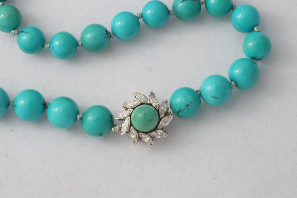 Persian Turquoise Necklace With Diamond & Turquoise Clasp 3
