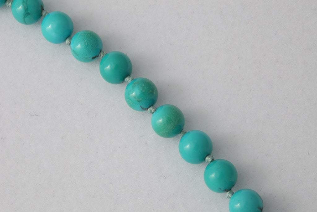 Persian Turquoise Necklace With Diamond & Turquoise Clasp 4