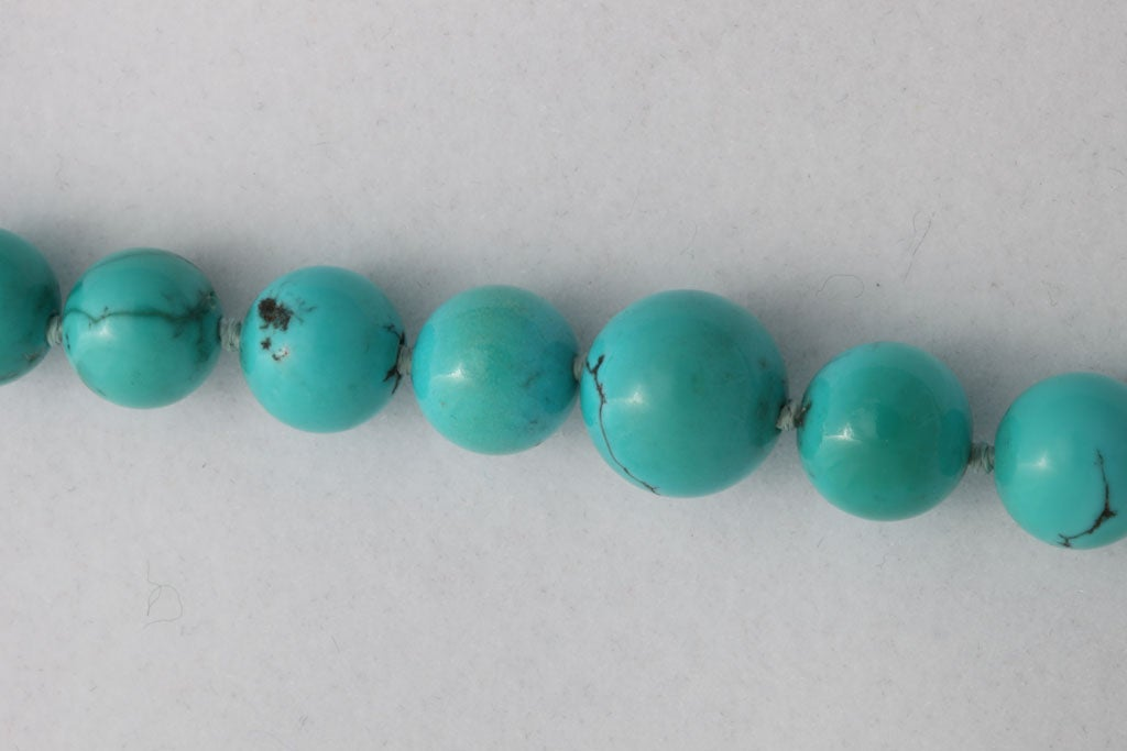 Persian Turquoise Necklace With Diamond & Turquoise Clasp 5