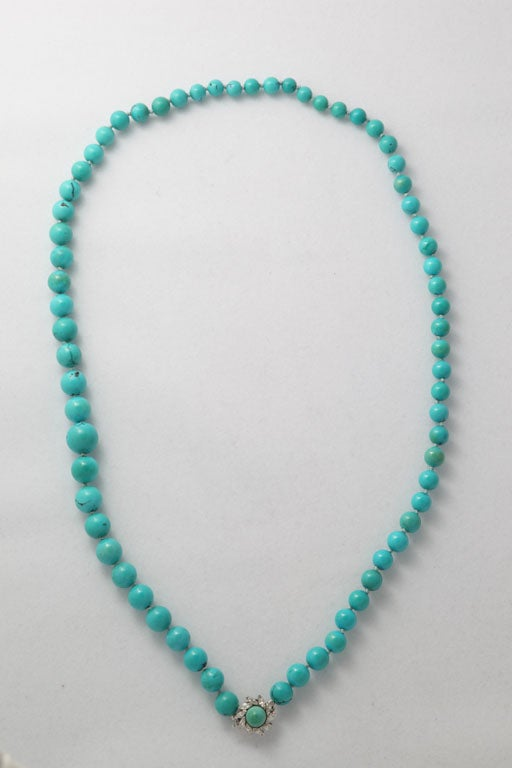 Persian Turquoise Necklace With Diamond & Turquoise Clasp 6