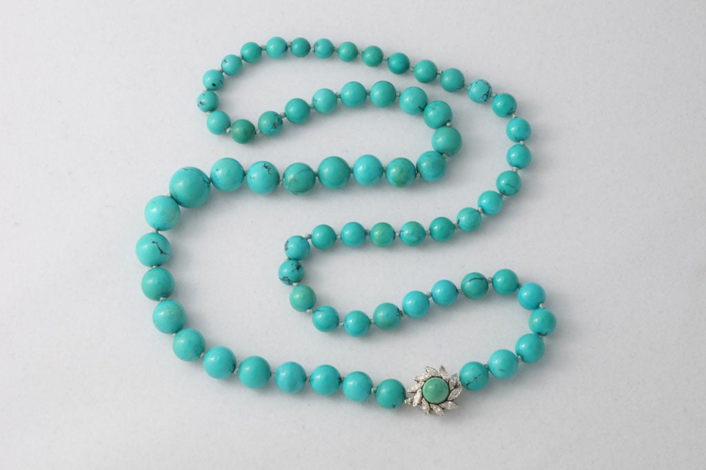Persian Turquoise Necklace With Diamond & Turquoise Clasp 2