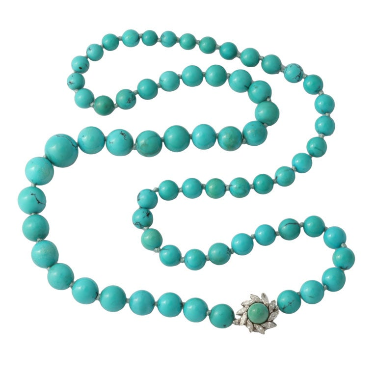 Persian Turquoise Necklace With Diamond & Turquoise Clasp 1