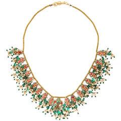 Enamel Pearl Emerald Diamond Gold Indian Neckalce