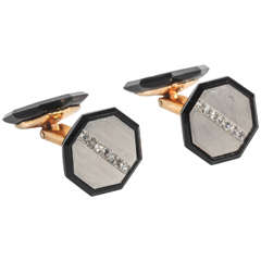 Art Deco Onyx Diamond Cufflinks