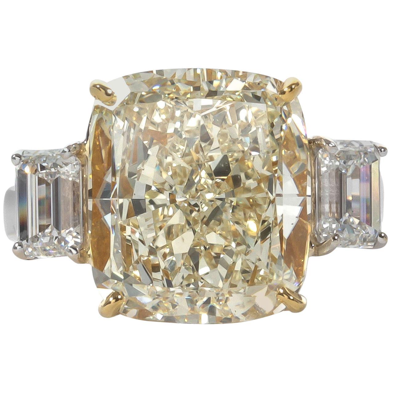Fancy Yellow 10.06 Carat Cushion Cut Diamond Ring