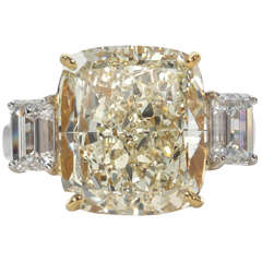 Fancy Yellow 10.06 Carat Cushion Cut Diamond Ring