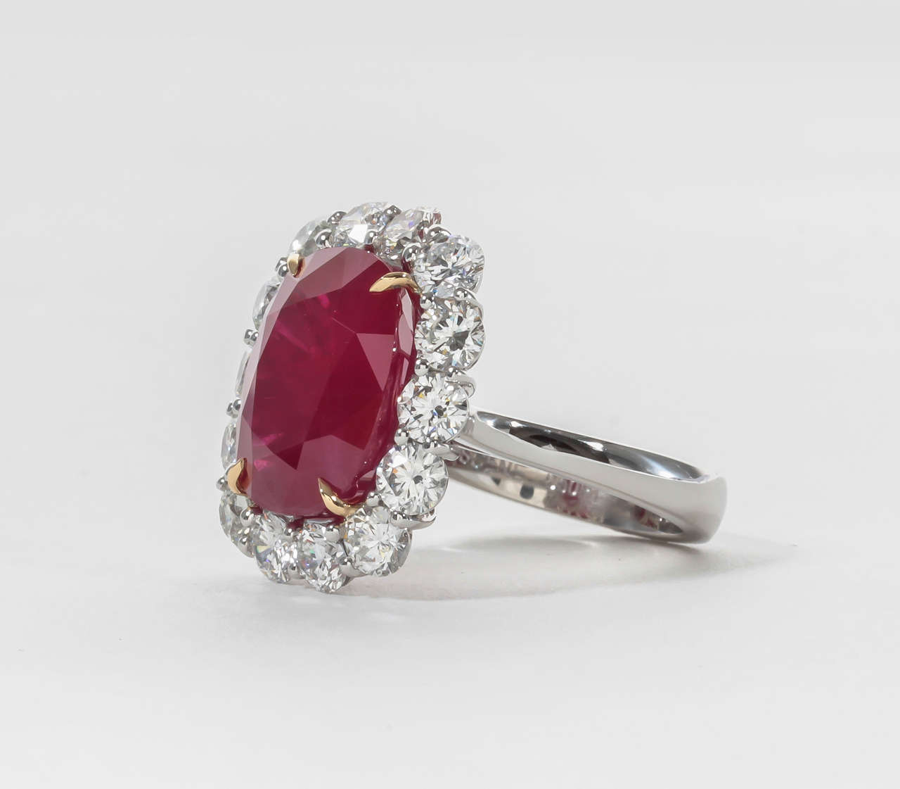 Custom Burma Ruby Ring: Rare Ten Carat Burma Ruby Diamond Ring For Sale At 1stdibs
