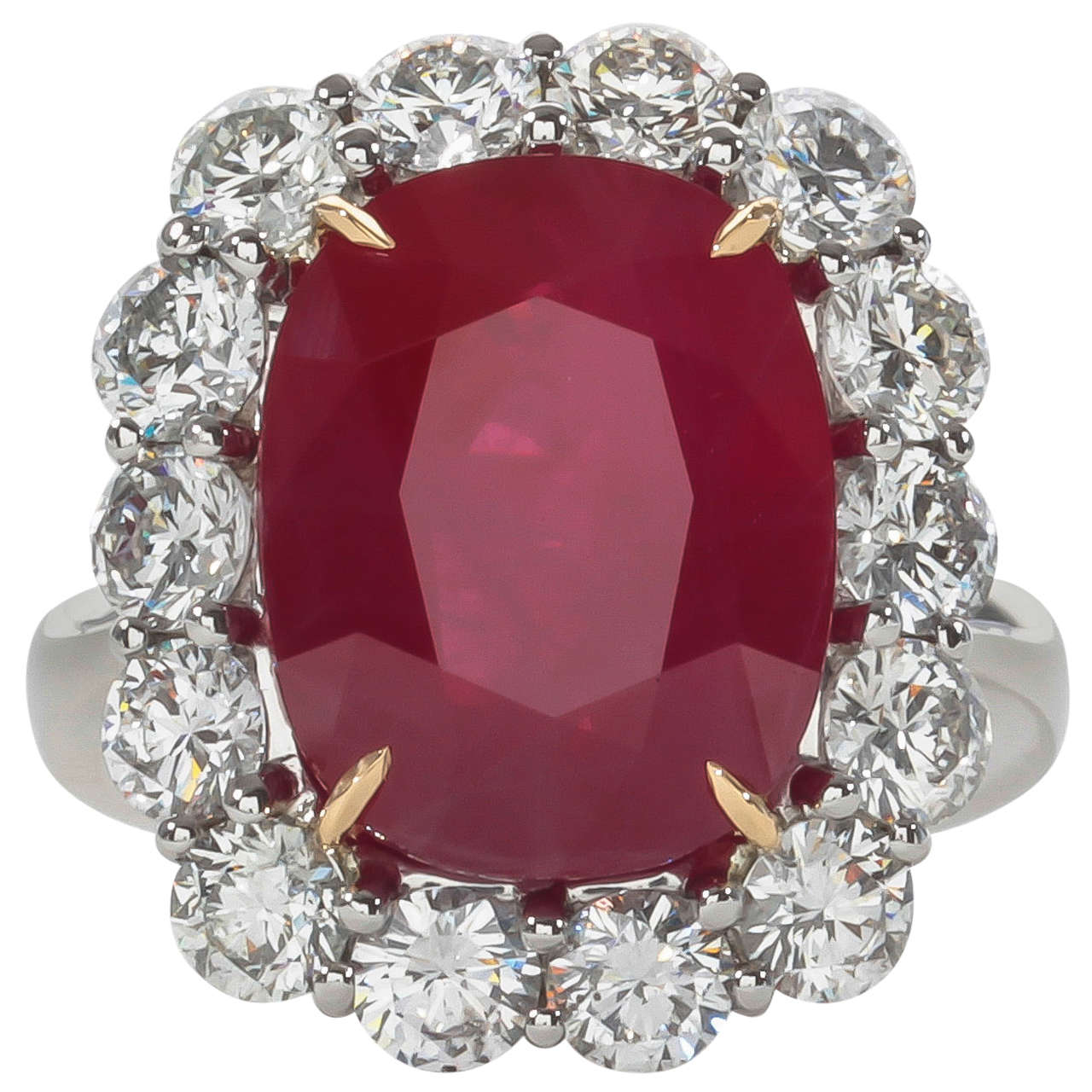 Rare 10 Carat Burma Ruby Diamond Ring For Sale at 1stdibs