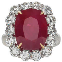 Rare 10 Carat Burma Ruby Diamond Ring