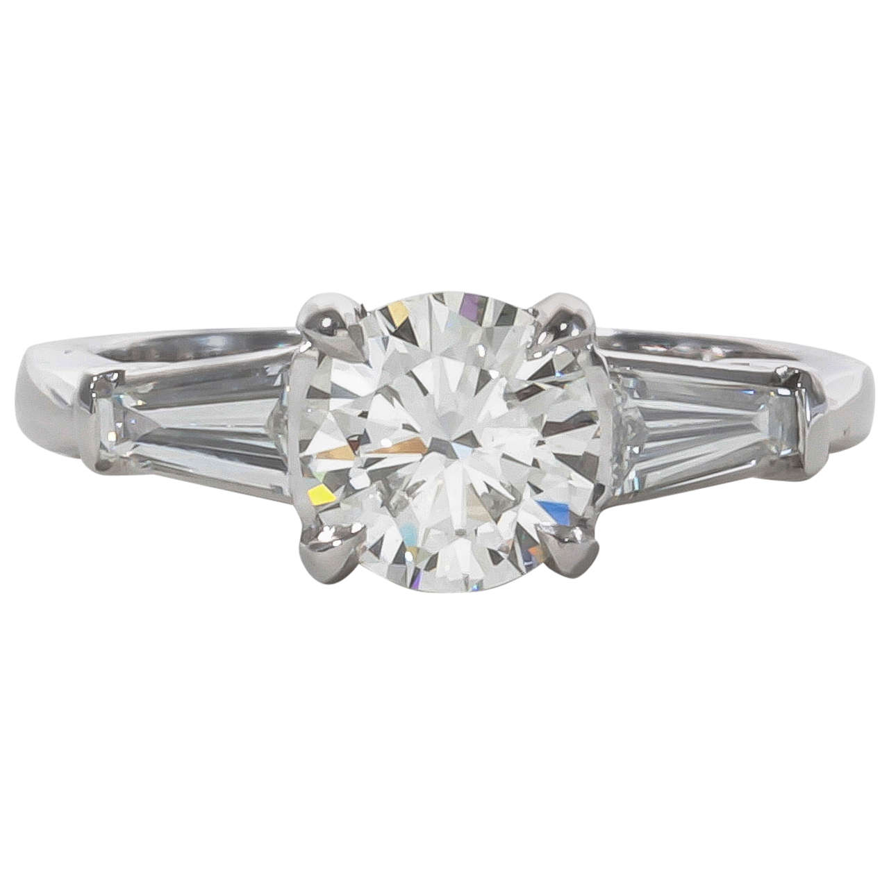 side rings ring white with tapered baguette platinum stone center engagement cut diamond oval and stones in three