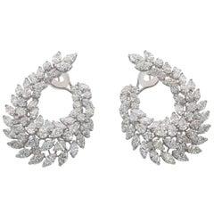 Impressive Diamond White Gold Wreath Swirl Earrings