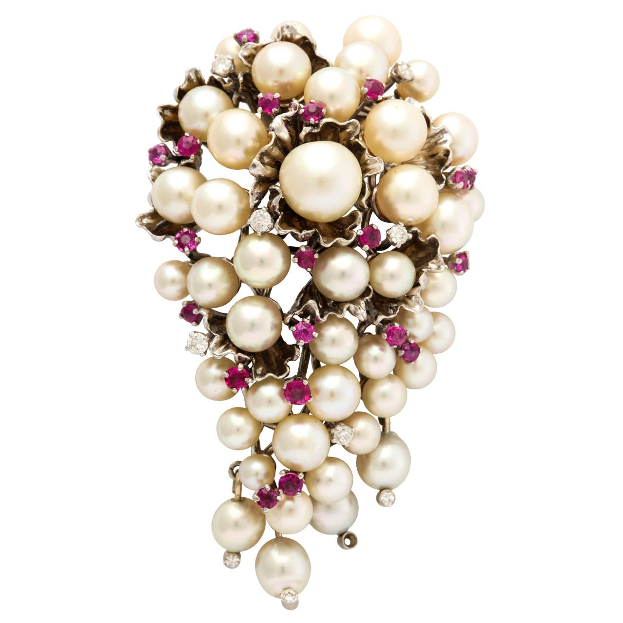 Pearl Ruby Diamond Clip Brooch