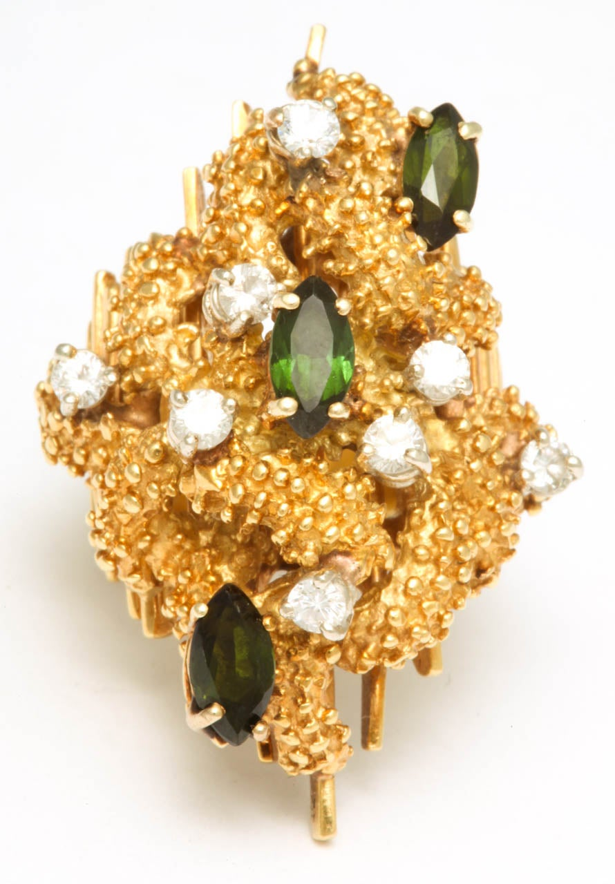 Oversized Architectural Tourmaline Diamond Gold Ring 2