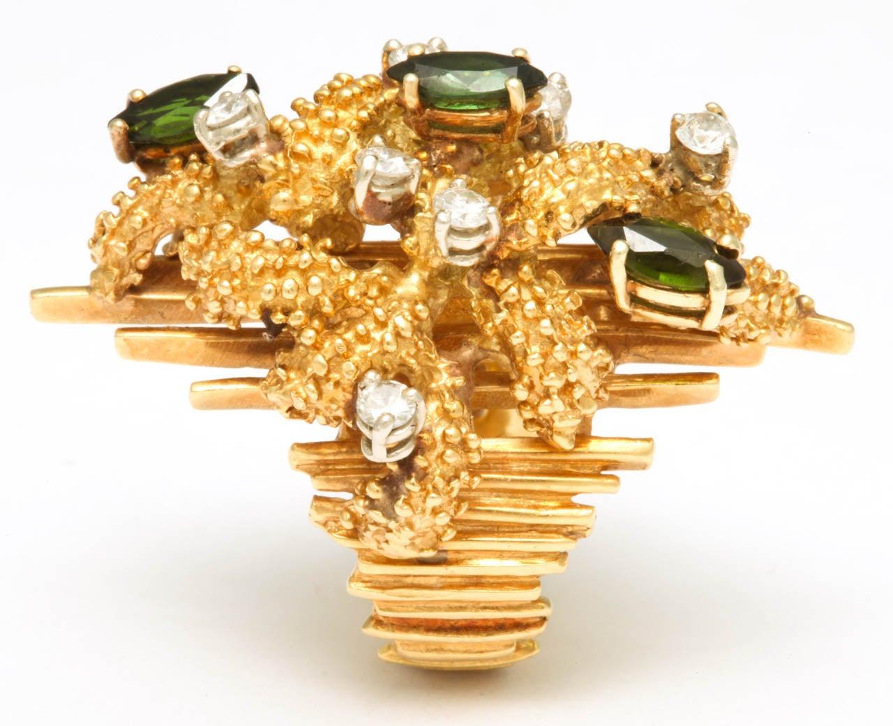 Oversized Architectural Tourmaline Diamond Gold Ring 3