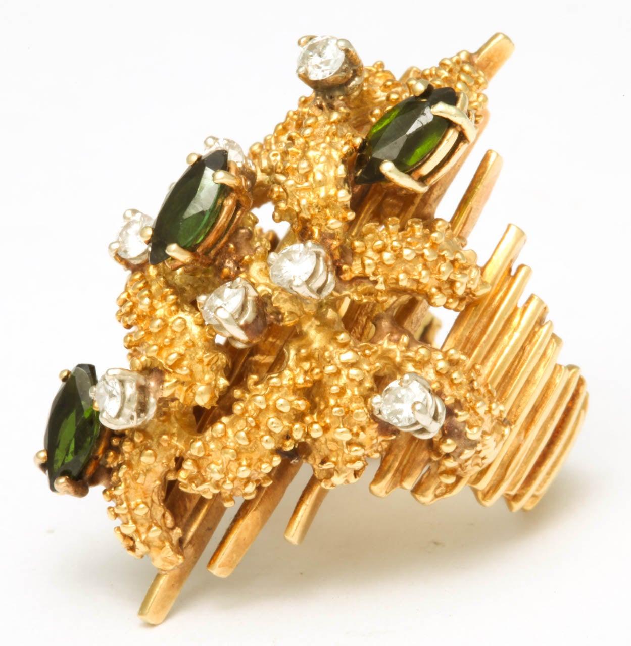 Oversized Architectural Tourmaline Diamond Gold Ring 4