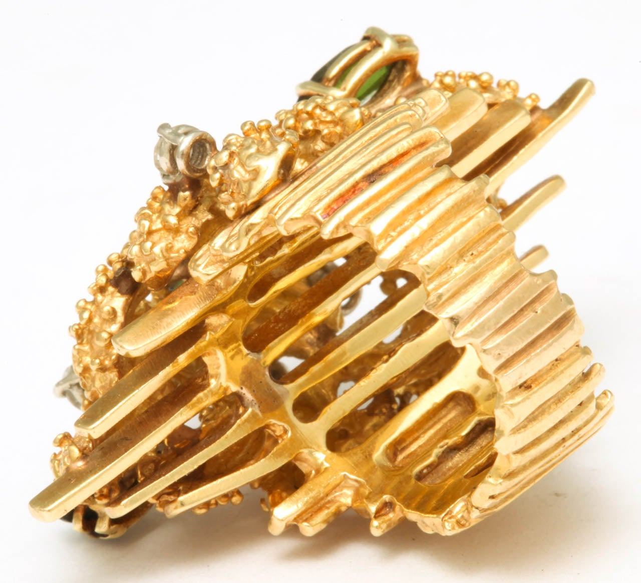 Oversized Architectural Tourmaline Diamond Gold Ring 5
