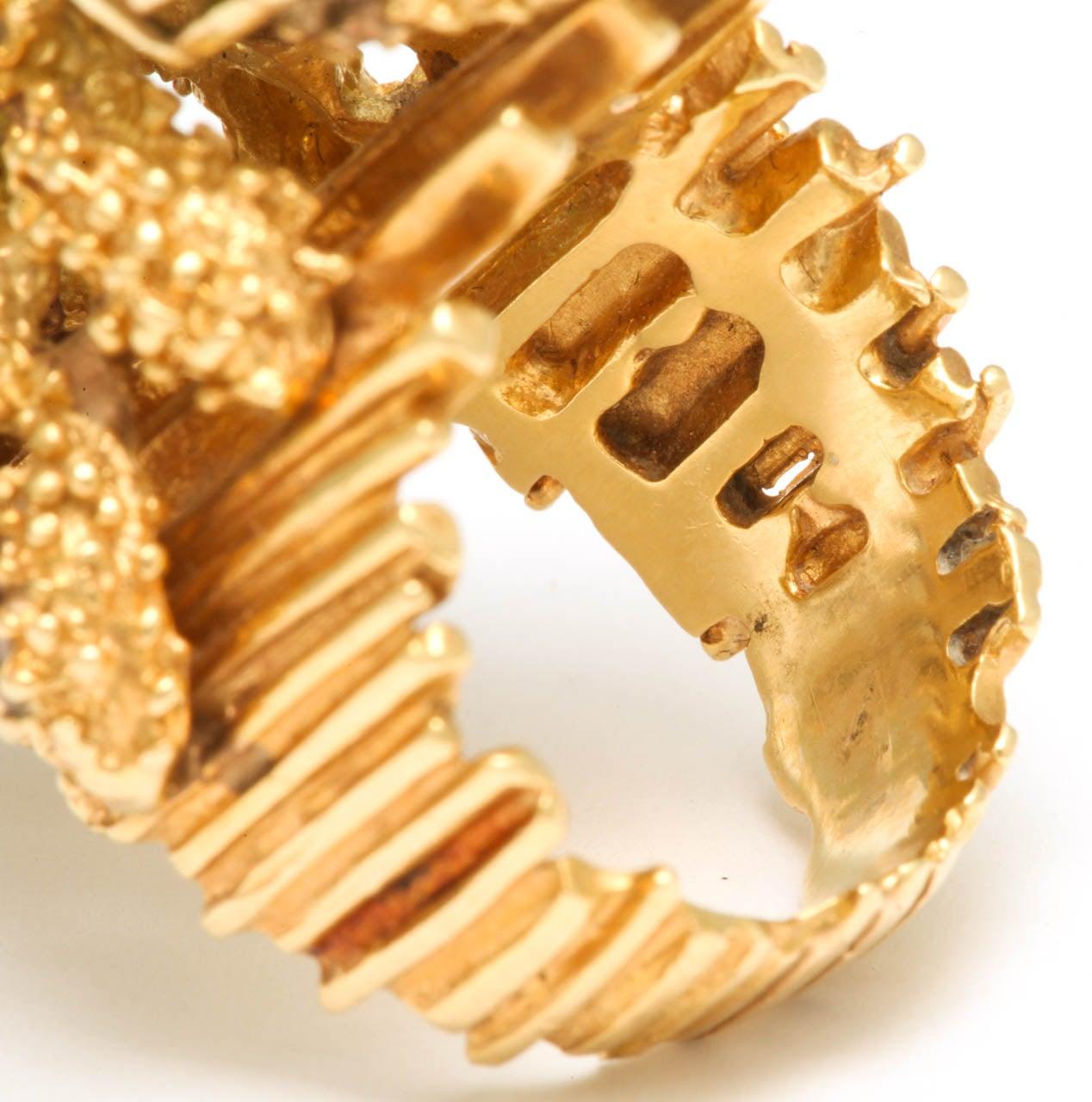 Oversized Architectural Tourmaline Diamond Gold Ring 6