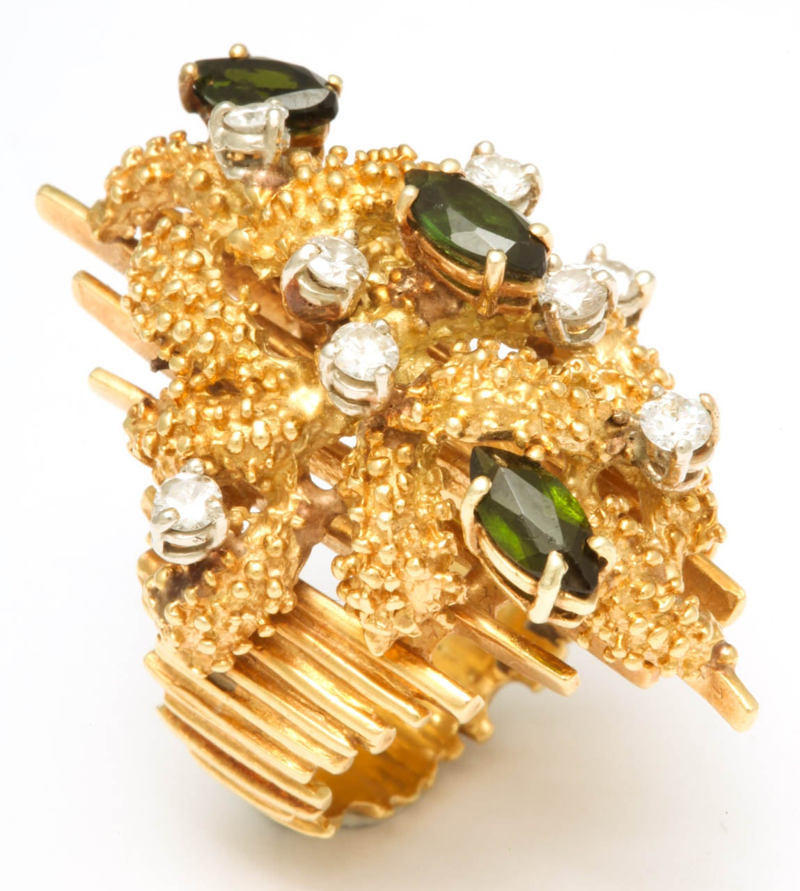 Oversized Architectural Tourmaline Diamond Gold Ring 7