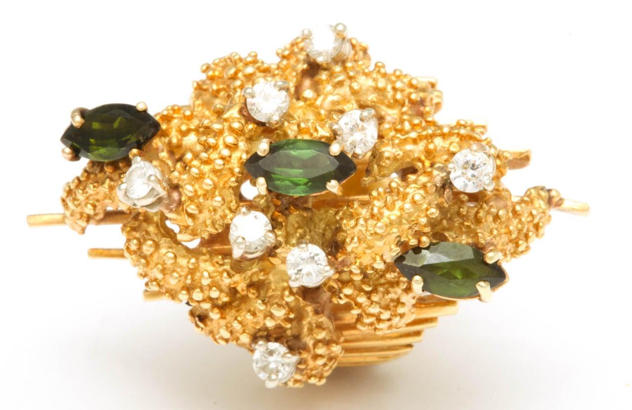 Oversized Architectural Tourmaline Diamond Gold Ring 8