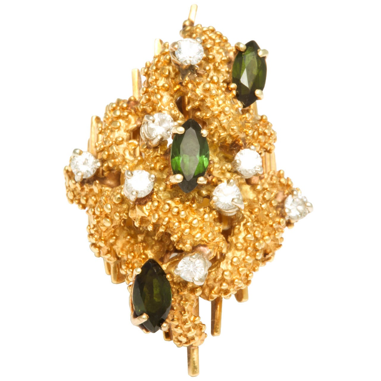 Oversized Architectural Tourmaline Diamond Gold Ring