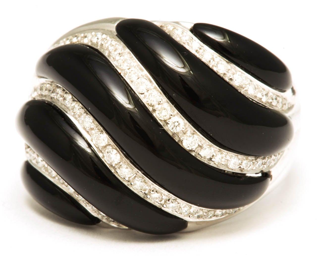 Black Onyx & Diamond White Gold Swirl Ring 3