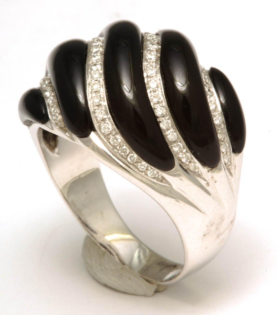 black onyx and white gold swirl ring for sale at