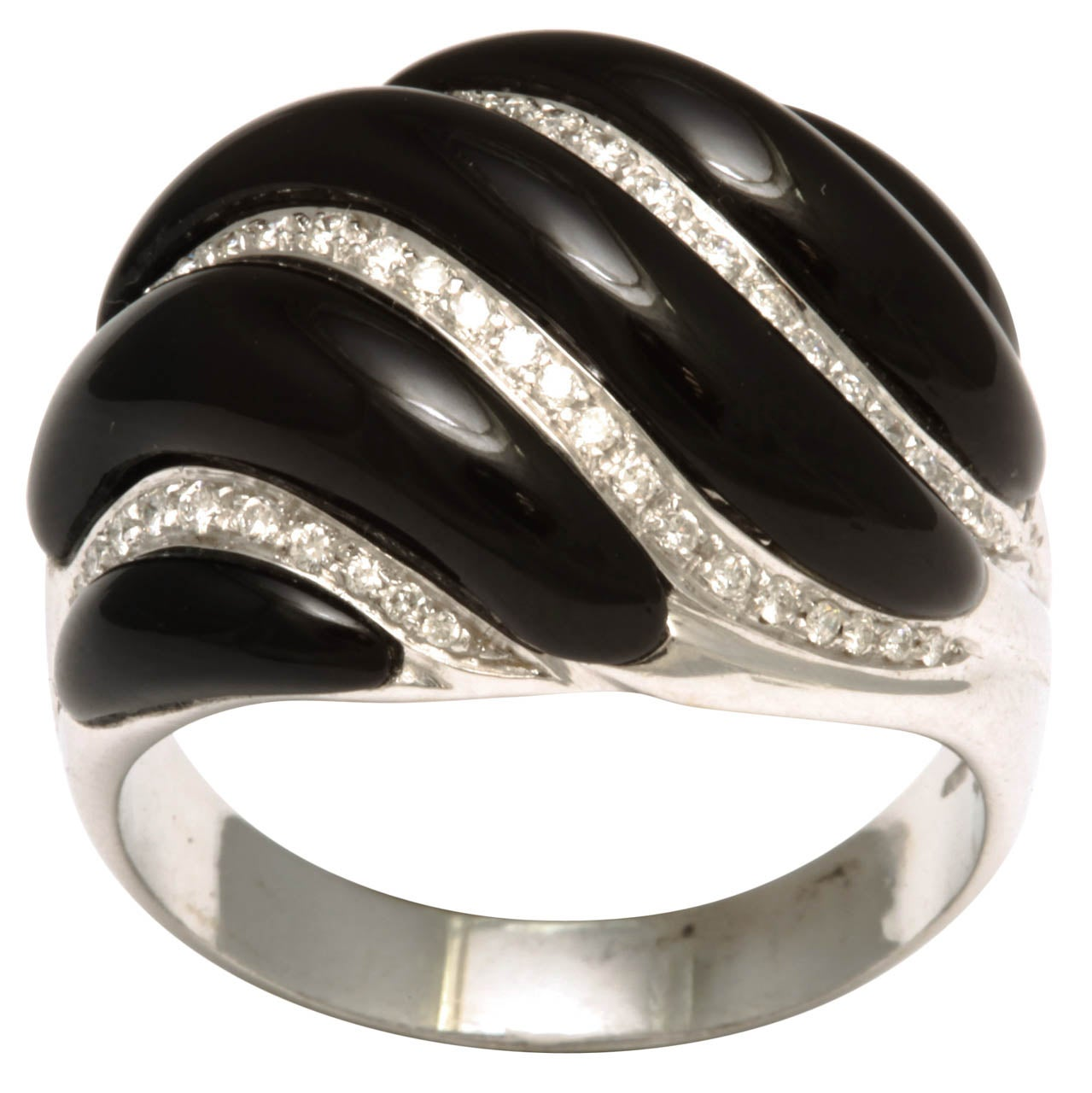 Black Onyx & Diamond White Gold Swirl Ring