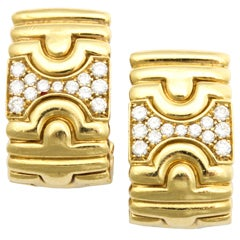Clip on Diamond & Gold Earrings