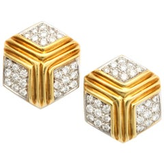 Hexagonal Diamond Gold Earrings