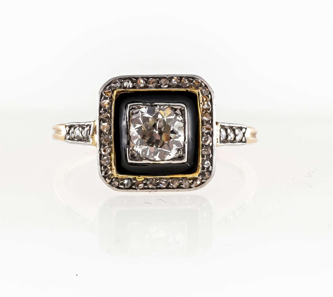 Art Deco Black Enamel Diamond Yellow Gold Platinum Ring 5