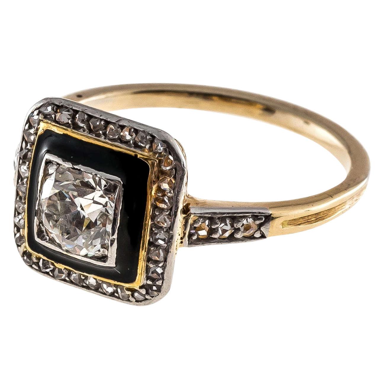 Art Deco Black Enamel Diamond Yellow Gold Platinum Ring 1