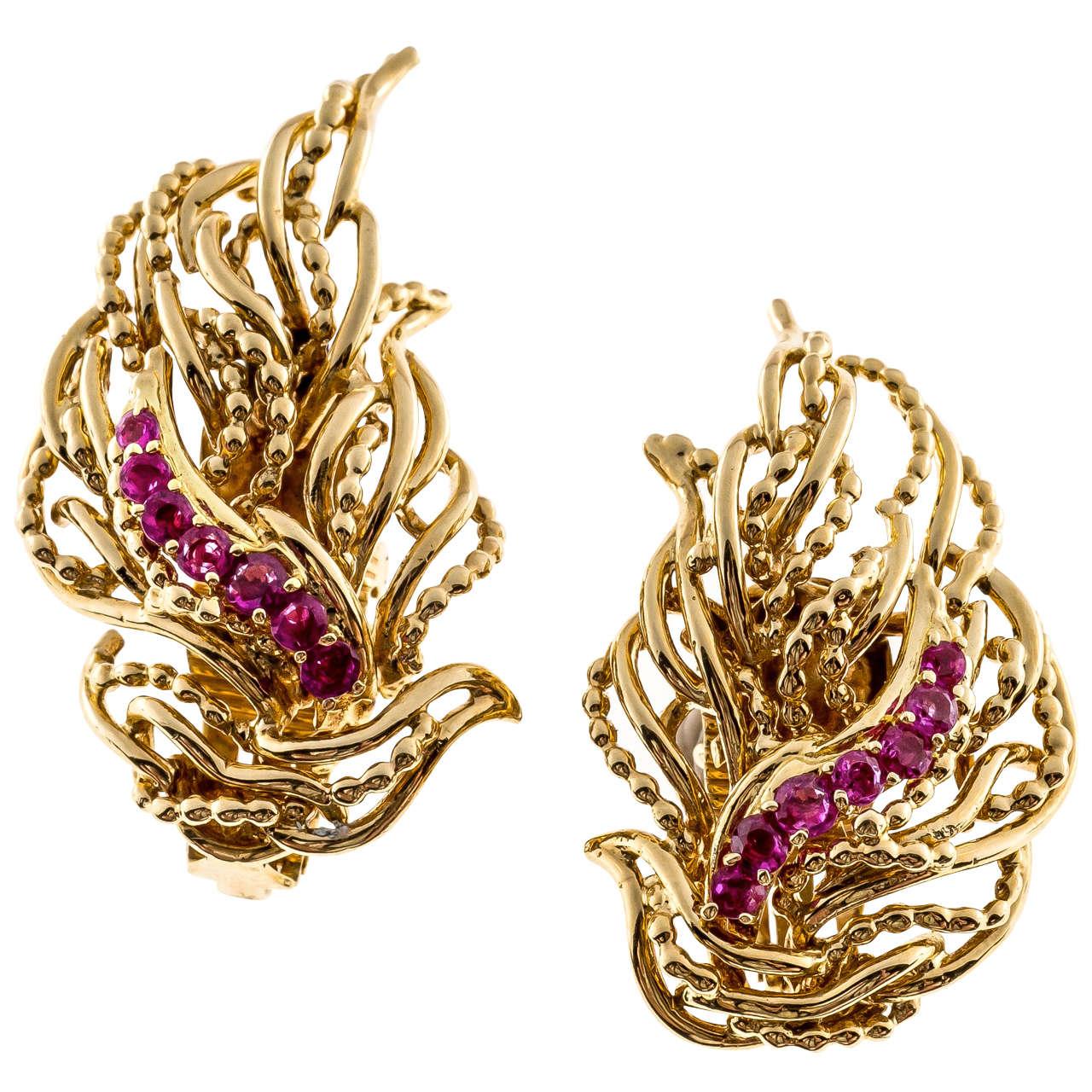 Tiffany & Co. Ruby Flame Gold Non Pierced Clip Back Earrings 2