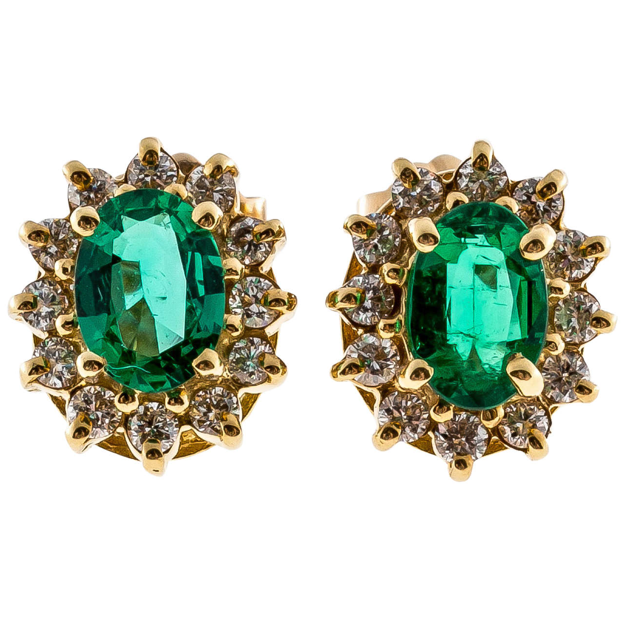 1 80 Carat Green Emerald Diamond Yellow Gold Stud Earrings For