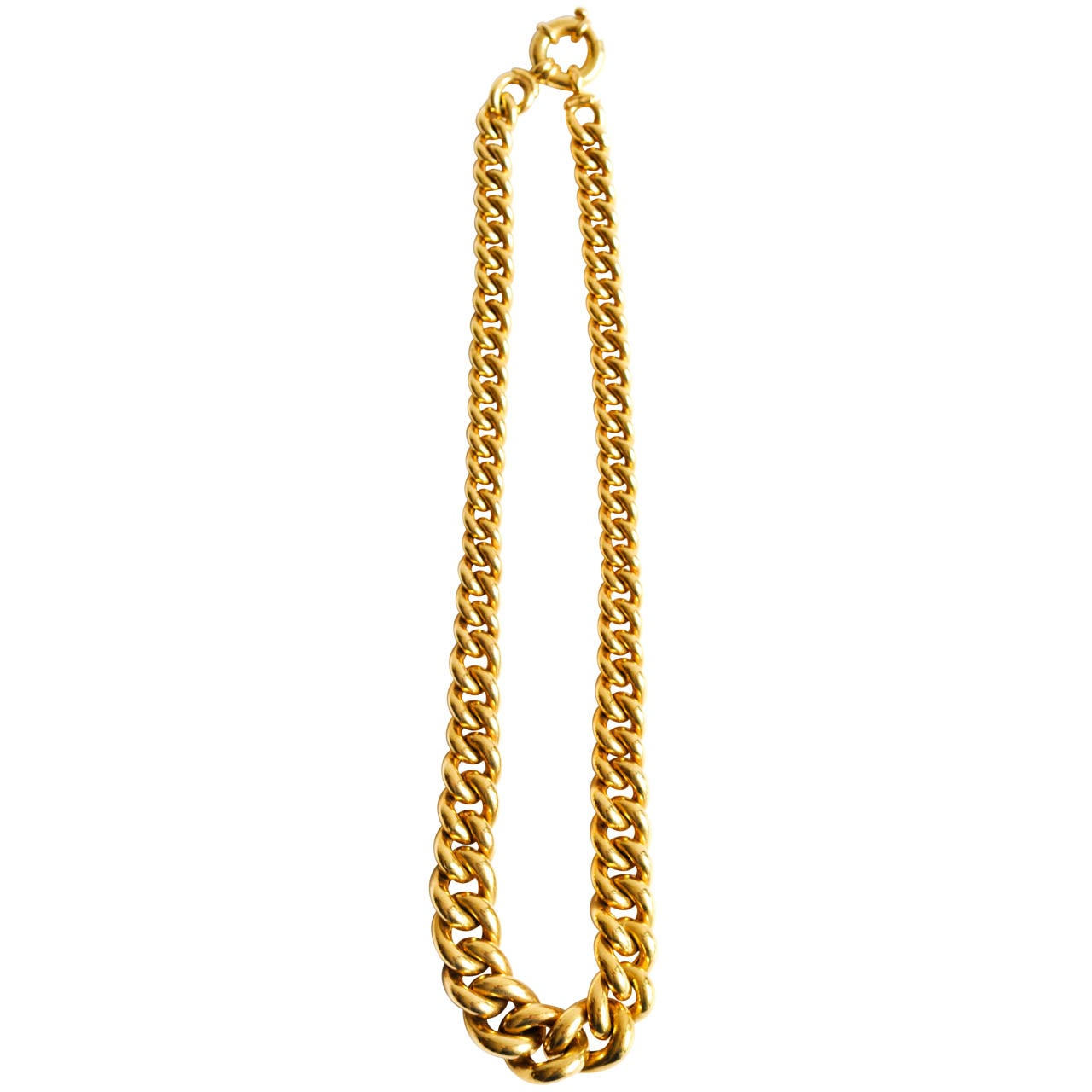 italian 14k gold graduated link necklace at 1stdibs