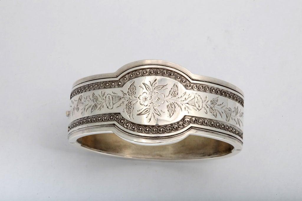 Unusual Victorian Sterling Silver Etched Bangle Bracelet image 3