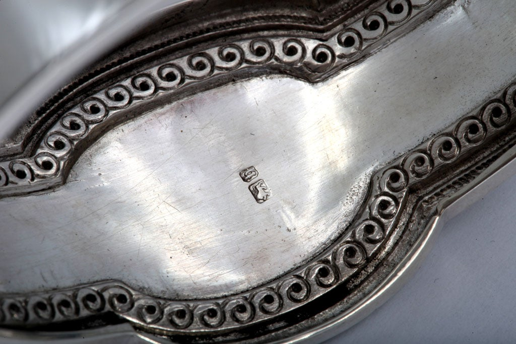 Unusual Victorian Sterling Silver Etched Bangle Bracelet image 5