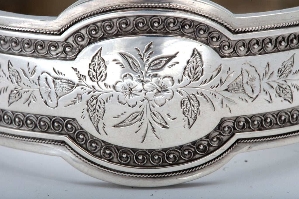 Unusual Victorian Sterling Silver Etched Bangle Bracelet image 7