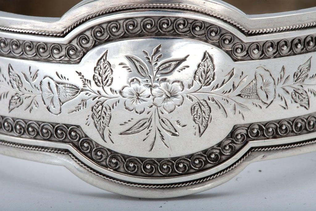 Unusual Victorian Sterling Silver Etched Bangle Bracelet image 7