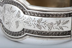 Unusual Victorian Sterling Silver Etched Bangle Bracelet thumbnail 8