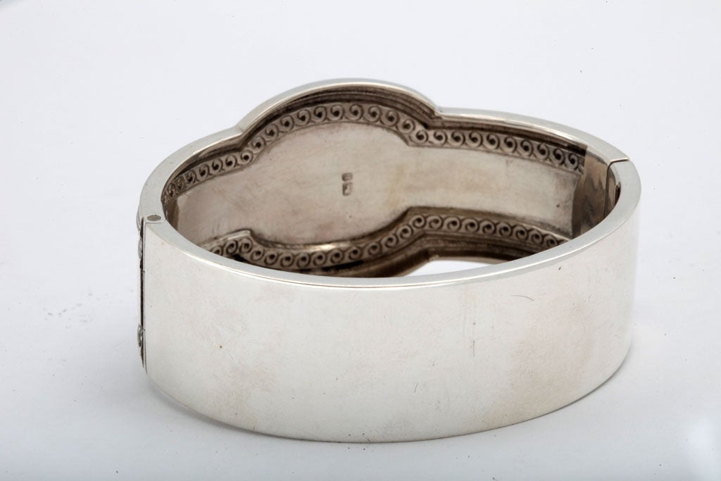 Unusual Victorian Sterling Silver Etched Bangle Bracelet image 9